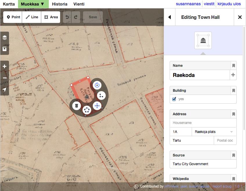 Tarton kartta Open Historical Map -ympäristössä, jossa voi käyttää OpenStreetMapin uutta iD-työkalua