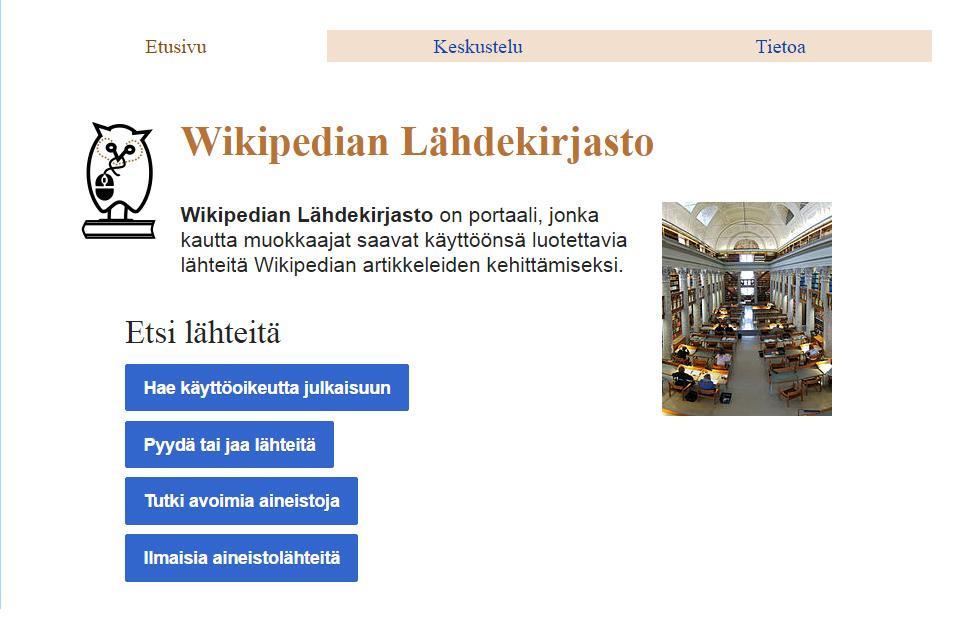 Wikipedian Lähdekirjaston etusivu
