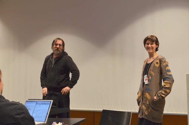 Dan Perjovschi and Maria Rantamaula, who was the one to sleep on the office floor. Photo: Kimmo Virtanen CC-BY 3.0