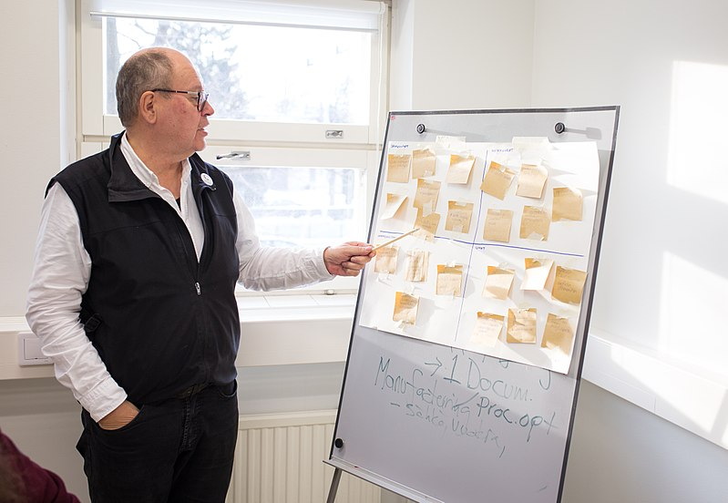 Heikki going through SWOT analysis in one of the two strategy wokrshops in the Spring 2018.