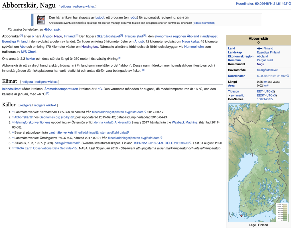 Abborrskärin artikkeli ruotsinkielisessä Wikipediassa